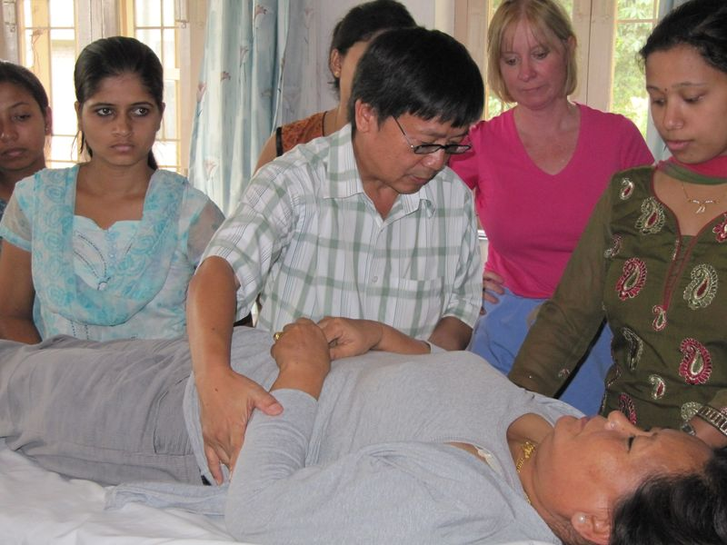 Dr. Rai demonstrating for students